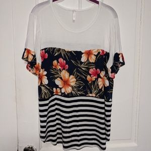 My Story Short Flowy Sleeve Floral Striped T-Shirt